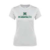 Ladies Syntrel Performance White Tee-Stacked University of Hawaii