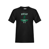 Youth Black T Shirt-Golf Arched With Player