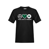 Youth Black T Shirt-Volleyball Peace Love Volleyball Stacked