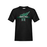 Youth Black T Shirt-Track & Field Side Shoe