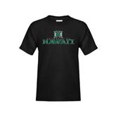 Youth Black T Shirt-Stacked University of Hawaii