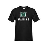 Youth Black T Shirt-Stacked Rainbow Wahine