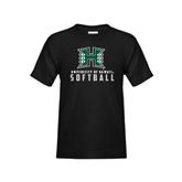 Youth Black T Shirt-Softball