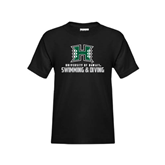 Youth Black T Shirt-Swimming & Diving