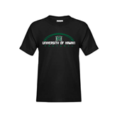 Youth Black T Shirt-Football Arched
