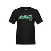 Youth Black T Shirt-Baseball Script
