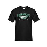 Youth Black T Shirt-Baseball Crossed Bats