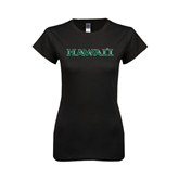 Next Level Ladies SoftStyle Junior Fitted Black Tee-Hawaii