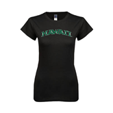 Next Level Ladies SoftStyle Junior Fitted Black Tee-Hawaii Arch