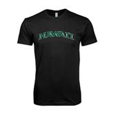 Next Level SoftStyle Black T Shirt-Hawaii Arch