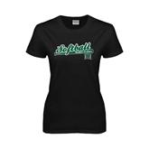 Ladies Black T Shirt-Baseball Script