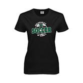 Ladies Black T Shirt-Soccer Circle