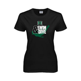 Ladies Black T Shirt-Swim and Dive Swimmer