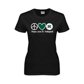 Ladies Black T Shirt-Volleyball Peace Love Volleyball Stacked