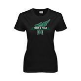Ladies Black T Shirt-Track & Field Side Shoe