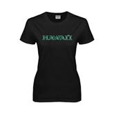 Ladies Black T Shirt-Hawaii