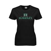 Ladies Black T Shirt-Stacked University of Hawaii