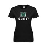 Ladies Black T Shirt-Stacked Rainbow Wahine