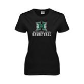 Ladies Black T Shirt-Basketball