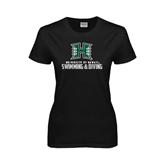 Ladies Black T Shirt-Swimming & Diving