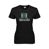 Ladies Black T Shirt-Track and Field