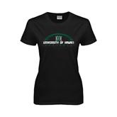 Ladies Black T Shirt-Football Arched