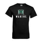 Black T Shirt-Stacked Rainbow Wahine