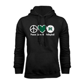 Black Fleece Hoodie-Volleyball Peace Love Volleyball Stacked