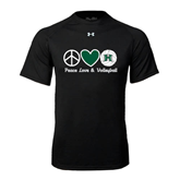 Under Armour Black Tech Tee-Volleyball Peace Love Volleyball Stacked