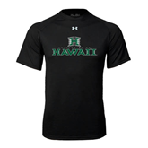 Under Armour Black Tech Tee-Stacked University of Hawaii