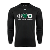 Under Armour Black Long Sleeve Tech Tee-Volleyball Peace Love Volleyball Stacked