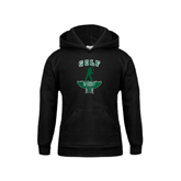 Youth Black Fleece Hoodie-Golf Arched With Player