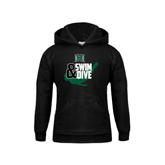 Youth Black Fleece Hoodie-Swim and Dive Swimmer