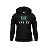 Youth Black Fleece Hoodie-Stacked Rainbow Wahine