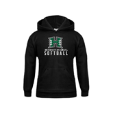 Youth Black Fleece Hoodie-Softball