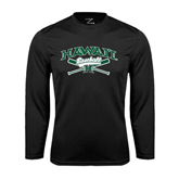 Performance Black Longsleeve Shirt-Baseball Crossed Bats