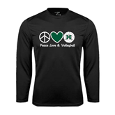 Performance Black Longsleeve Shirt-Volleyball Peace Love Volleyball Stacked