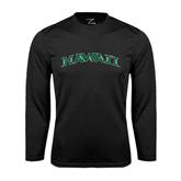 Performance Black Longsleeve Shirt-Hawaii Arch