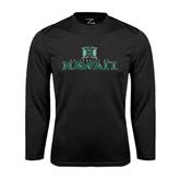Performance Black Longsleeve Shirt-Stacked University of Hawaii