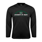 Performance Black Longsleeve Shirt-Football Arched