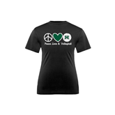 Youth Syntrel Performance Black Training Tee-Volleyball Peace Love Volleyball Stacked