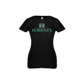 Youth Girls Black Fashion Fit T Shirt-Stacked University of Hawaii
