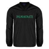 V Neck Black Raglan Windshirt-Hawaii
