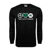 Black Long Sleeve TShirt-Volleyball Peace Love Volleyball Stacked