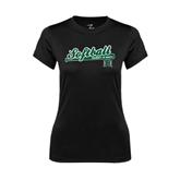 Ladies Syntrel Performance Black Tee-Baseball Script