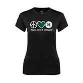 Ladies Syntrel Performance Black Tee-Volleyball Peace Love Volleyball Stacked