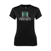 Ladies Syntrel Performance Black Tee-Football