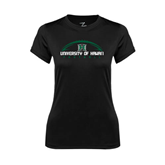 Ladies Syntrel Performance Black Tee-Football Arched