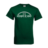 Dark Green T Shirt-Football Arched