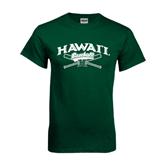 Dark Green T Shirt-Baseball Crossed Bats